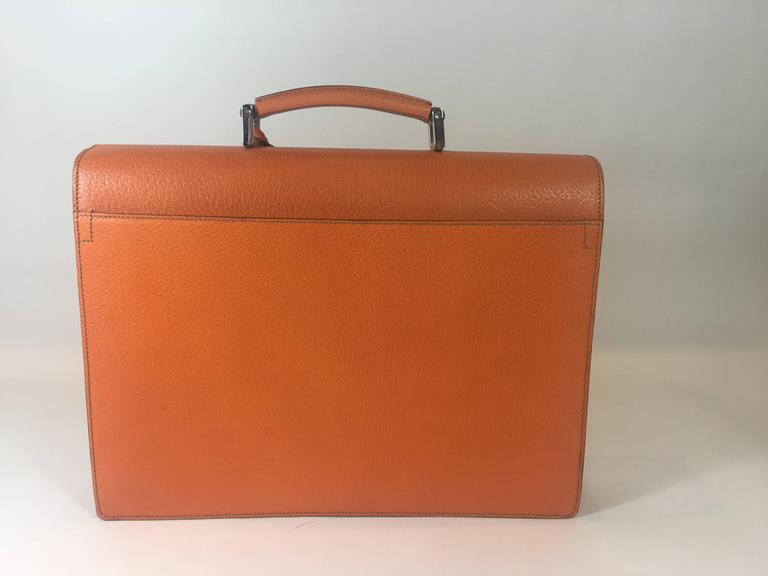 Prada Orange Cinghiale Leather Briefcase At 1stdibs