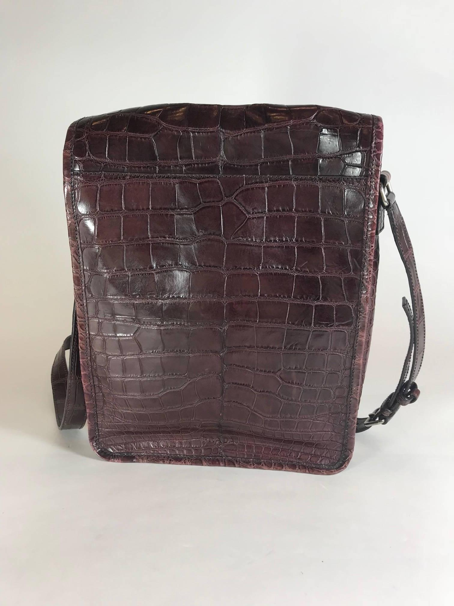 81247a5e33e5 ... authentic black prada maroon crocodile crossbody bag for sale 02384  d93c3