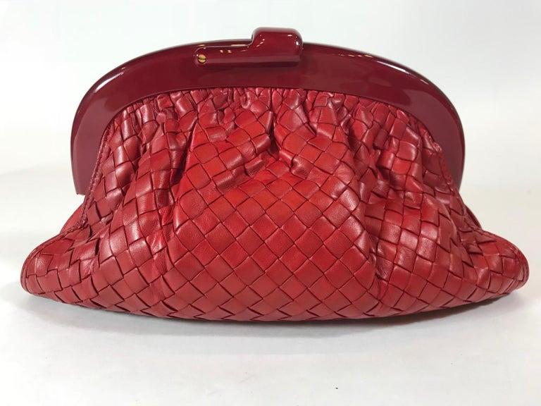 Red Bottega Veneta Vintage Intrecciato Frame Clutch For Sale