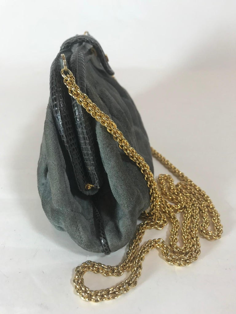 Chanel Vintage Python Suede Quilted Evening Clutch In Fair Condition For Sale In Roslyn, NY