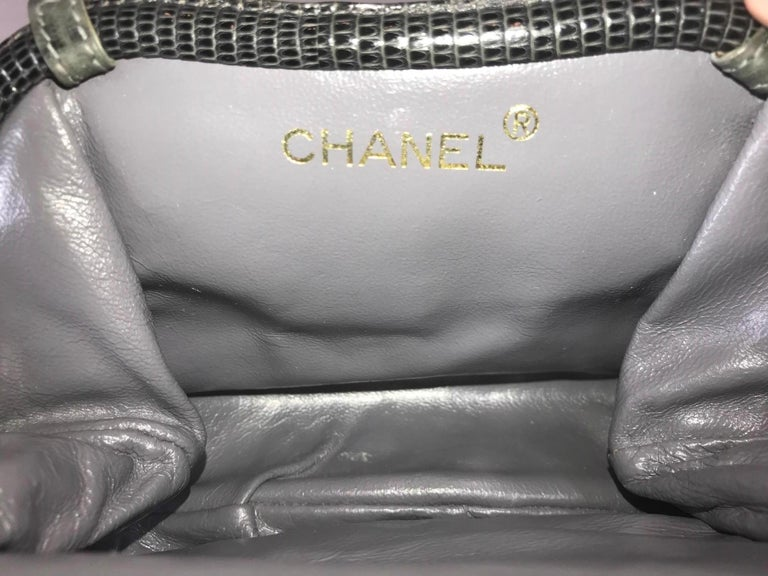 Chanel Vintage Python Suede Quilted Evening Clutch For Sale 6