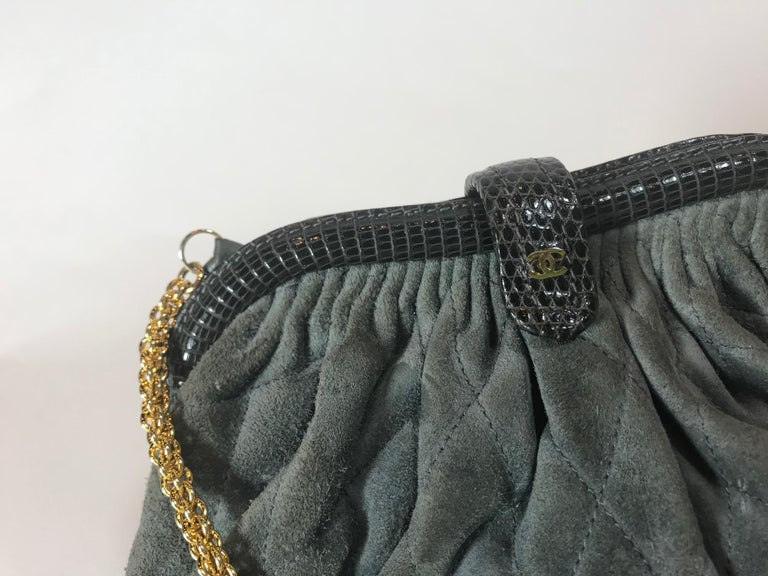 Black Chanel Vintage Python Suede Quilted Evening Clutch For Sale