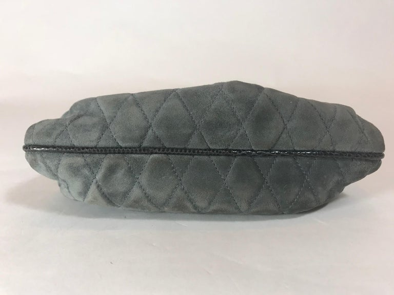 Chanel Vintage Python Suede Quilted Evening Clutch For Sale 2