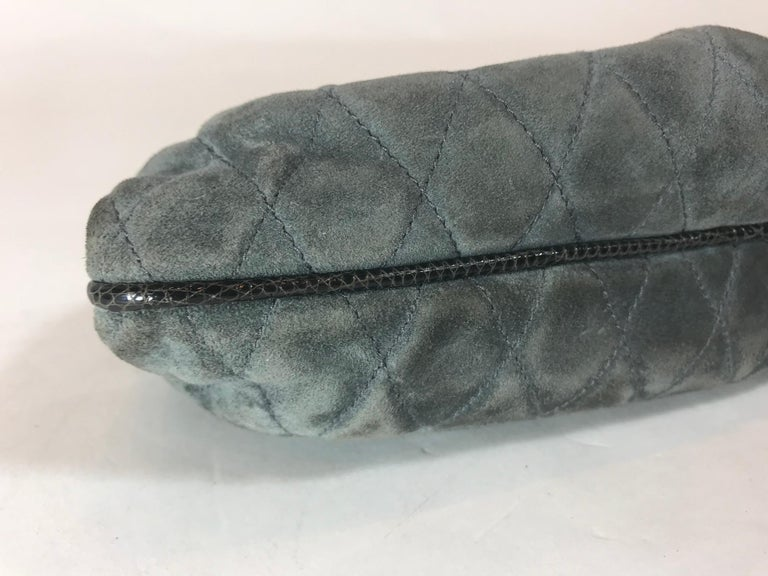 Chanel Vintage Python Suede Quilted Evening Clutch For Sale 4