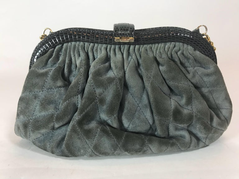 Women's or Men's Chanel Vintage Python Suede Quilted Evening Clutch For Sale