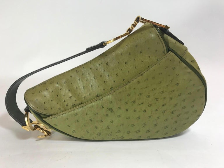 53484e58cb90 Christian Dior Green Ostrich Saddle Bag In Excellent Condition For Sale In  Roslyn