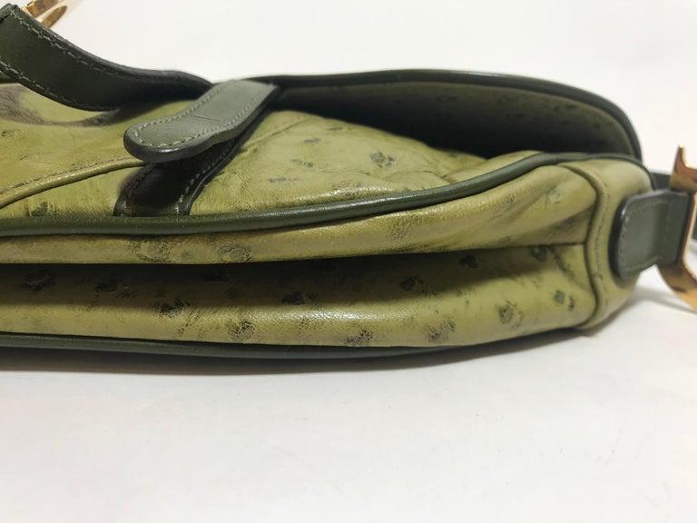 c2f5df7d39d2 Christian Dior Green Ostrich Saddle Bag For Sale at 1stdibs