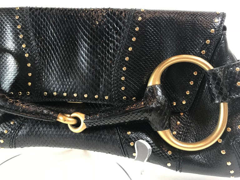 367f11ed610868 Women's or Men's Gucci Python and Lizard Horsebit Clutch For Sale
