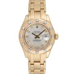 Rolex Ladies Pearlmaster 18K Yellow Gold Diamond Wristwatch, Ref 69318