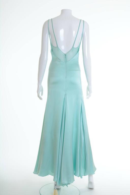 1990s GIANNI VERSACE Couture Mint Green Silk Long Dress 2