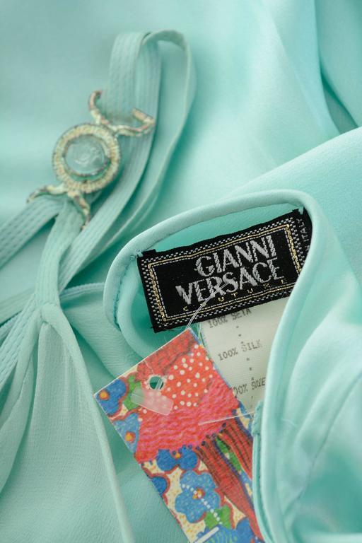 1990s GIANNI VERSACE Couture Mint Green Silk Long Dress 3