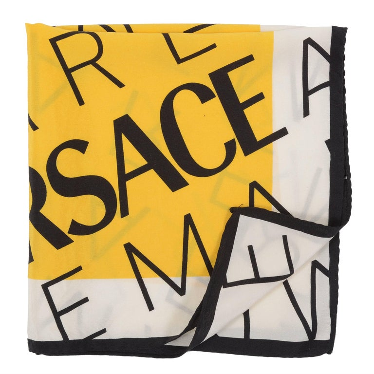 Versace Yellow Foulard With Letters Print 3