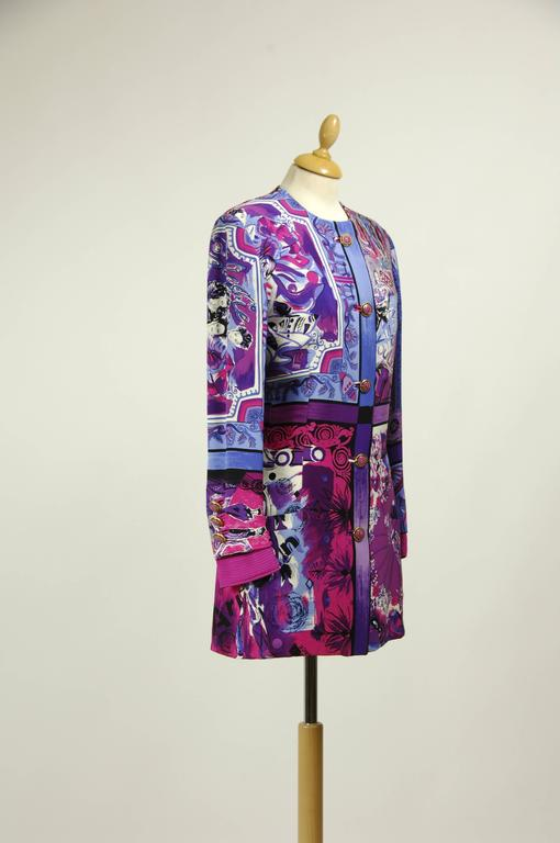 Purple 1990s Gianni Versace Rock Couture Silk Blazer Jacket For Sale