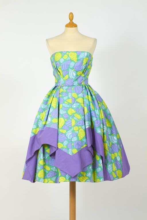 1950s Jole Veneziani Novelty Print Strapless Cocktail Dress  2