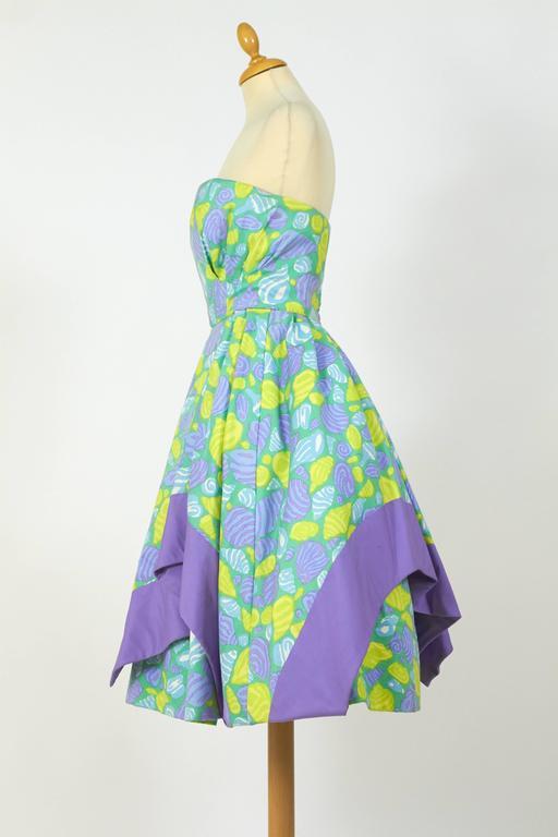1950s Jole Veneziani Novelty Print Strapless Cocktail Dress  3