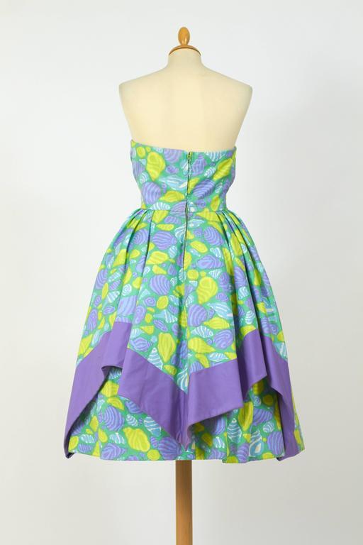 1950s Jole Veneziani Novelty Print Strapless Cocktail Dress  4
