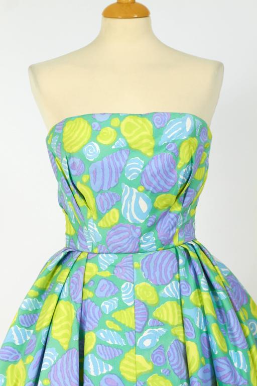 1950s Jole Veneziani Novelty Print Strapless Cocktail Dress  5