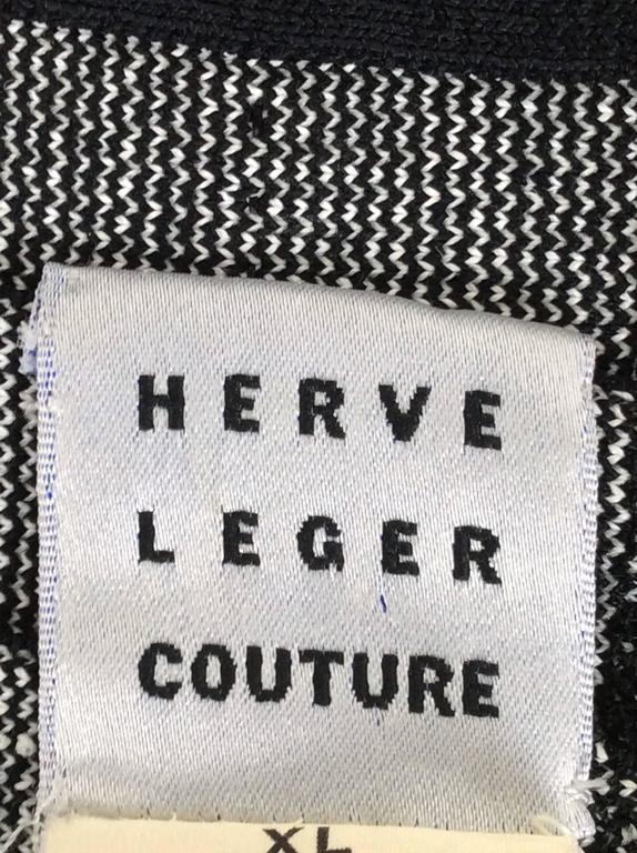 1990s Herve Leger Couture Black and White Bandage Long Dress 6