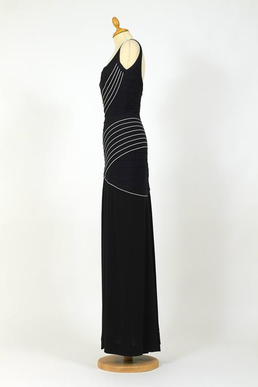 1990s Herve Leger Couture Black and White Bandage Long Dress 3