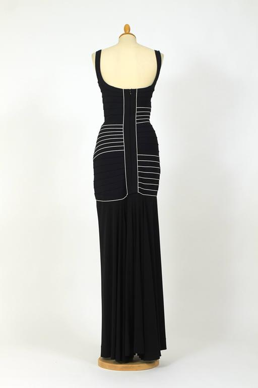 1990s Herve Leger Couture Black and White Bandage Long Dress 4