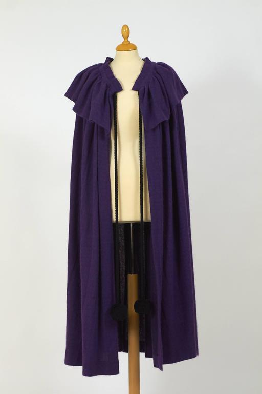 Black 1970s Saint Laurent Rive Gauche Purple Wool Cape Cloack Coat For Sale