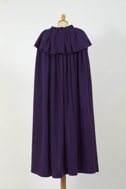 1970s Saint Laurent Rive Gauche Purple Wool Cape Cloack Coat 5