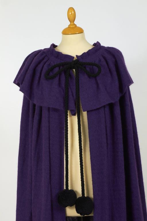 1970s Saint Laurent Rive Gauche Purple Wool Cape Cloack Coat For Sale 1