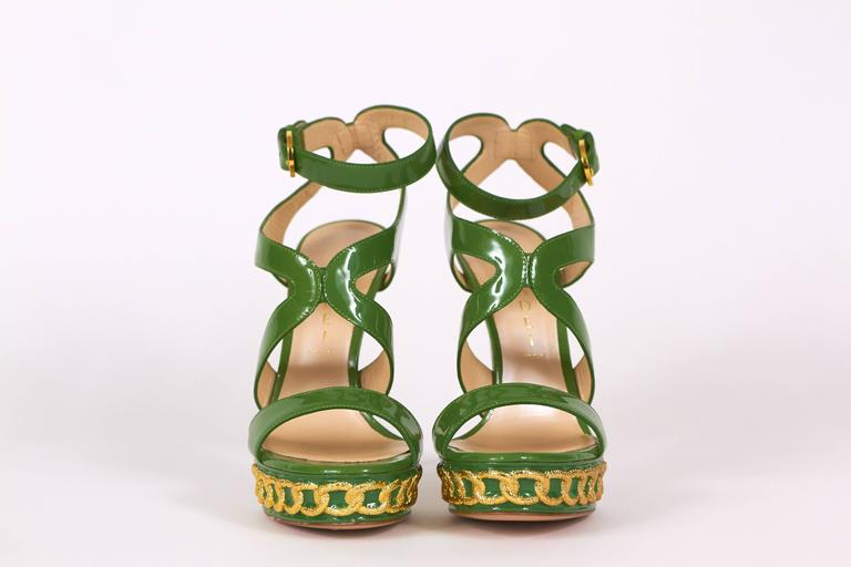 Casadei Made in Italy Green Patent Leather High Heel Platform Sandals 2