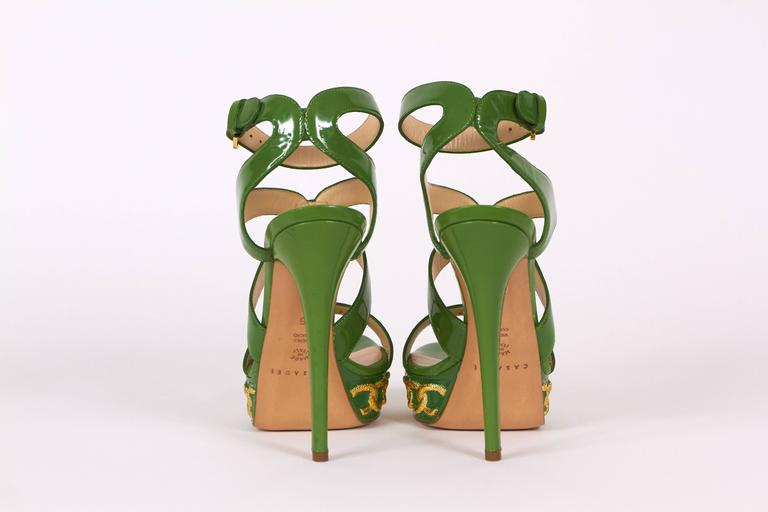 Casadei Made in Italy Green Patent Leather High Heel Platform Sandals 3