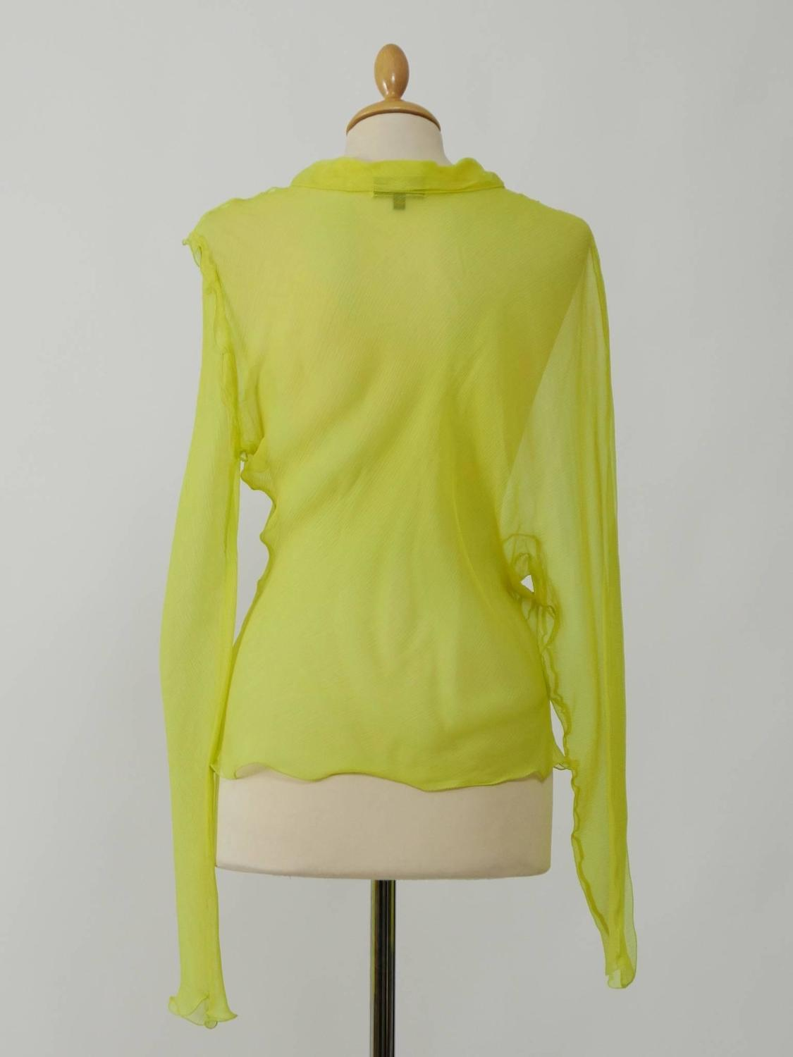 Fendi Yellow Lime Organdy Blouse Shirt For Sale At 1stdibs