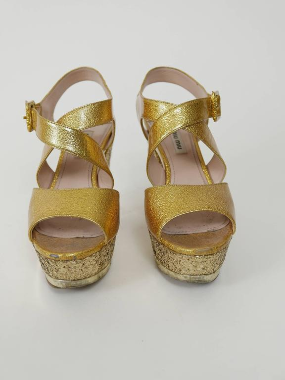 MIU MIU Golden Leather and Glitter Platform Sandals  2