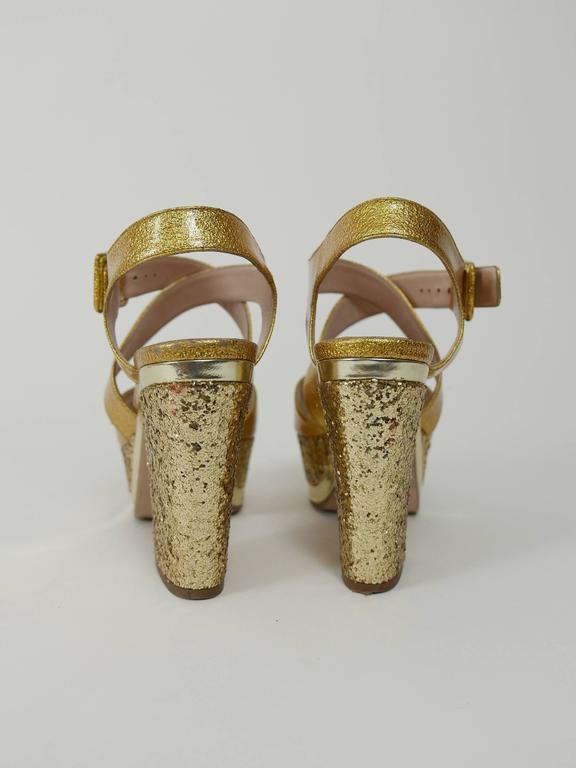 MIU MIU Golden Leather and Glitter Platform Sandals  3