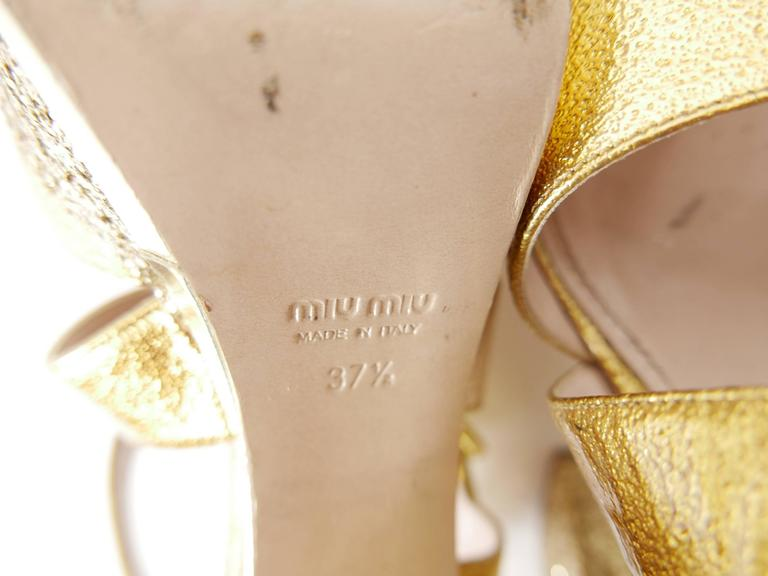 MIU MIU Golden Leather and Glitter Platform Sandals  5