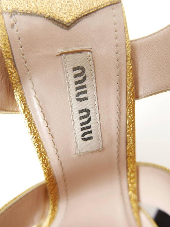 MIU MIU Golden Leather and Glitter Platform Sandals  6