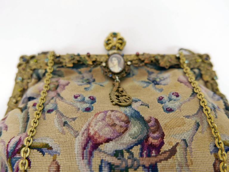 Antique Art Nouveau 1920s 1930s Tapestry Petit Point Purse  4