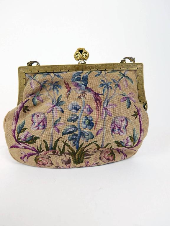 Antique Art Nouveau 1920s 1930s Tapestry Petit Point Purse  3