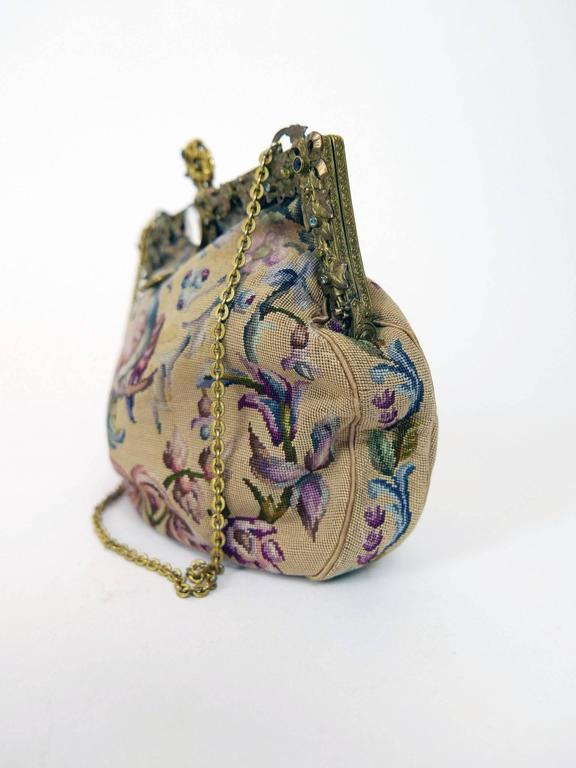 Antique Art Nouveau 1920s 1930s Tapestry Petit Point Purse  2