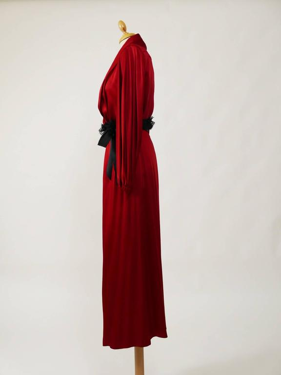 1980s YVES SAINT LAURENT Rive Gauche Red Satin Evening Dress 2