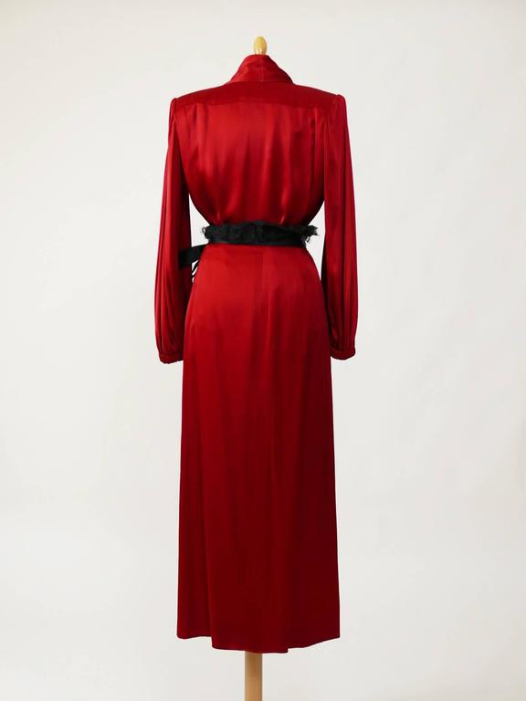 1980s YVES SAINT LAURENT Rive Gauche Red Satin Evening Dress 3