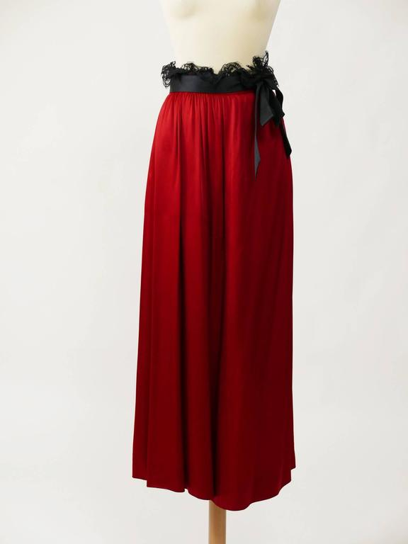 1980s YVES SAINT LAURENT Rive Gauche Red Satin Evening Dress 6