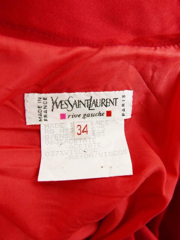1980s YVES SAINT LAURENT Rive Gauche Red Satin Evening Dress 8