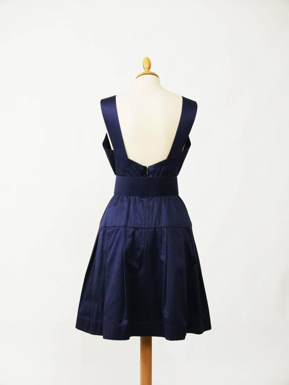 1990s CHANEL Blue Navy Cotton Dress In Excellent Condition For Sale In Milan, IT