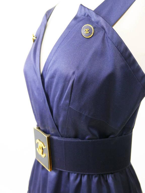 Women's 1990s CHANEL Blue Navy Cotton Dress For Sale