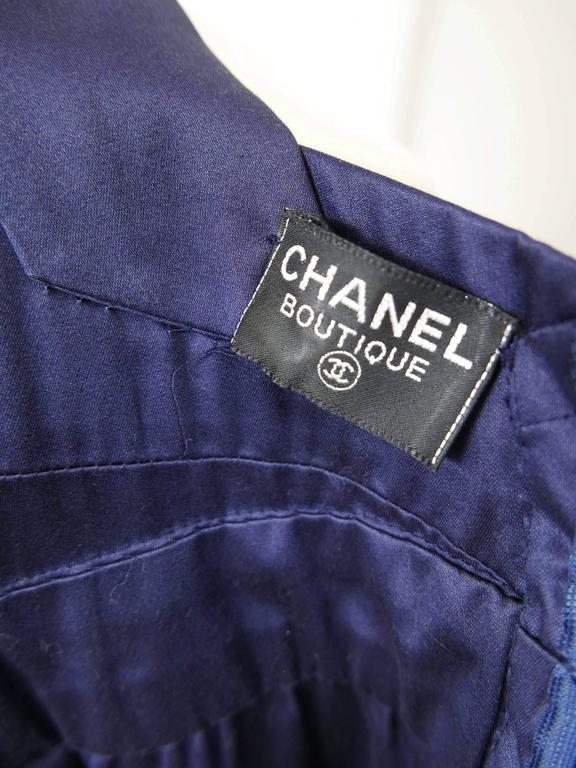 1990s CHANEL Blue Navy Cotton Dress For Sale 4