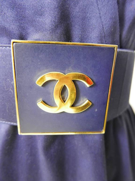 1990s CHANEL Blue Navy Cotton Dress For Sale 3