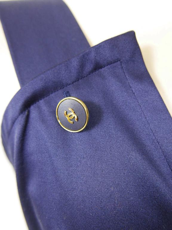 1990s CHANEL Blue Navy Cotton Dress For Sale 2