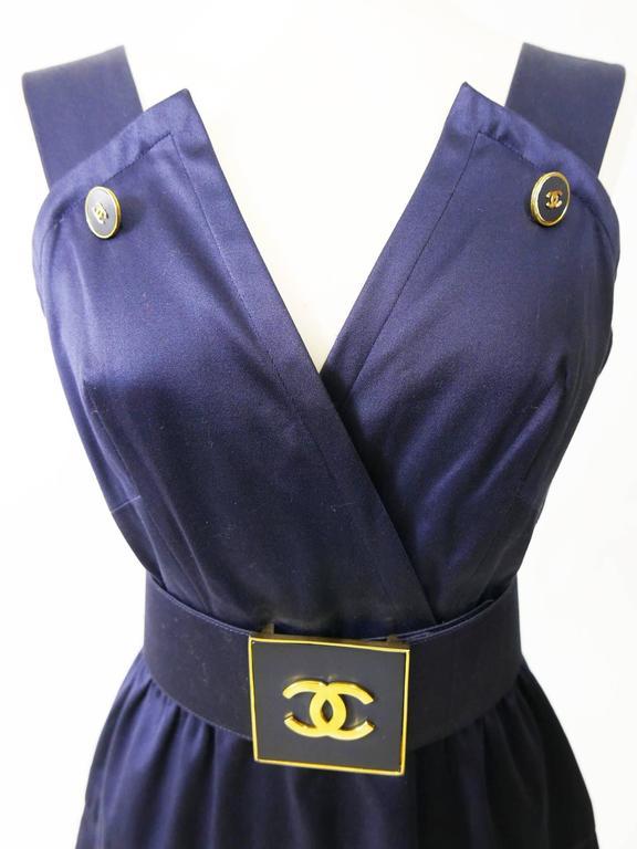 1990s CHANEL Blue Navy Cotton Dress 5