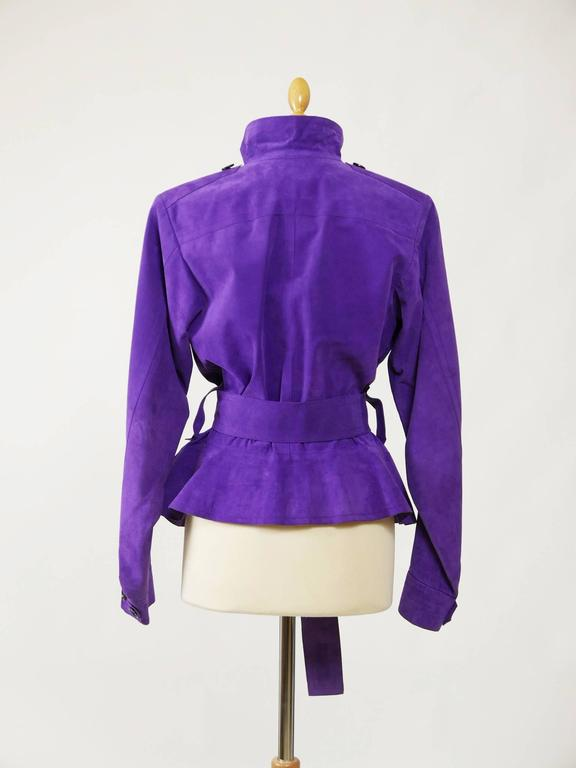 YVES SAINT LAURENT Rive Gauche Purple Suede Leather Jacket In Good Condition For Sale In Milan, Italy