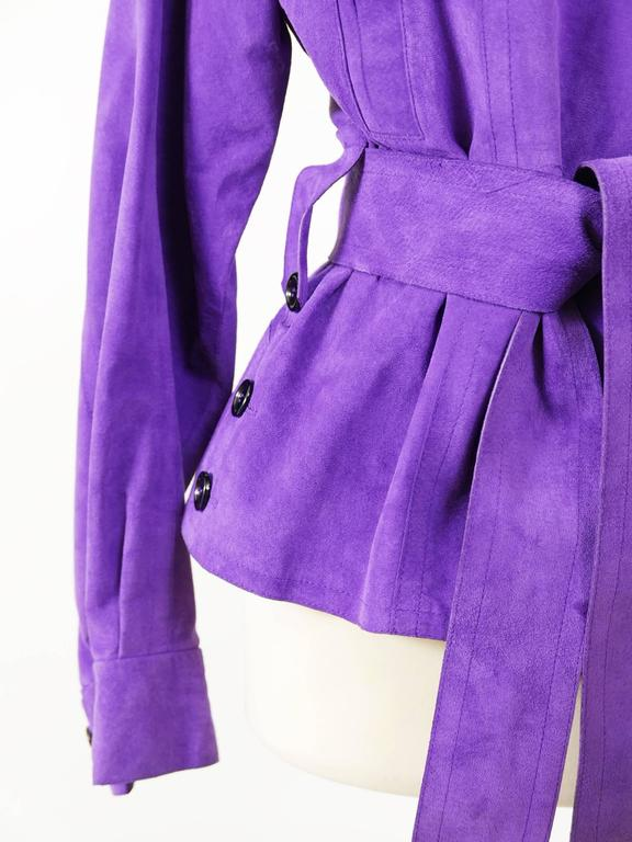 Women's YVES SAINT LAURENT Rive Gauche Purple Suede Leather Jacket For Sale