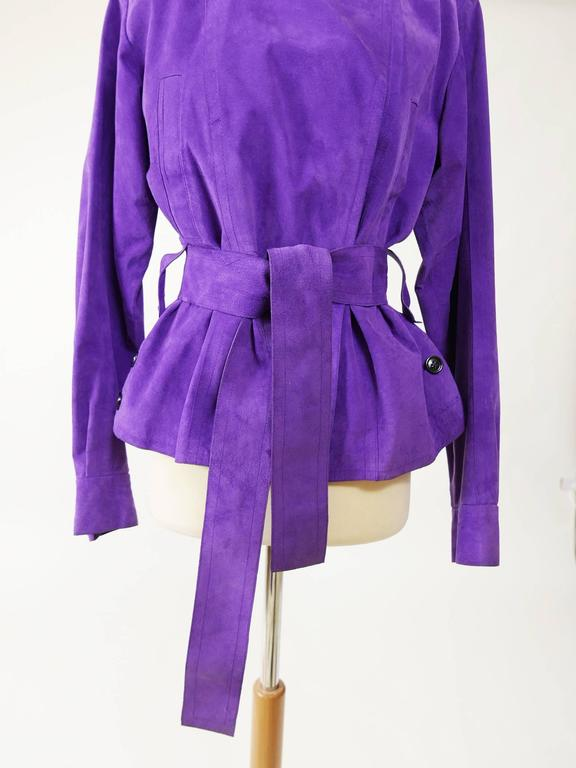YVES SAINT LAURENT Rive Gauche Purple Suede Leather Jacket For Sale 1